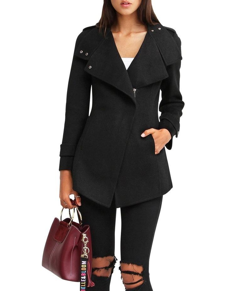 Bad Girl Black Wool Blend Moto Coat image 4