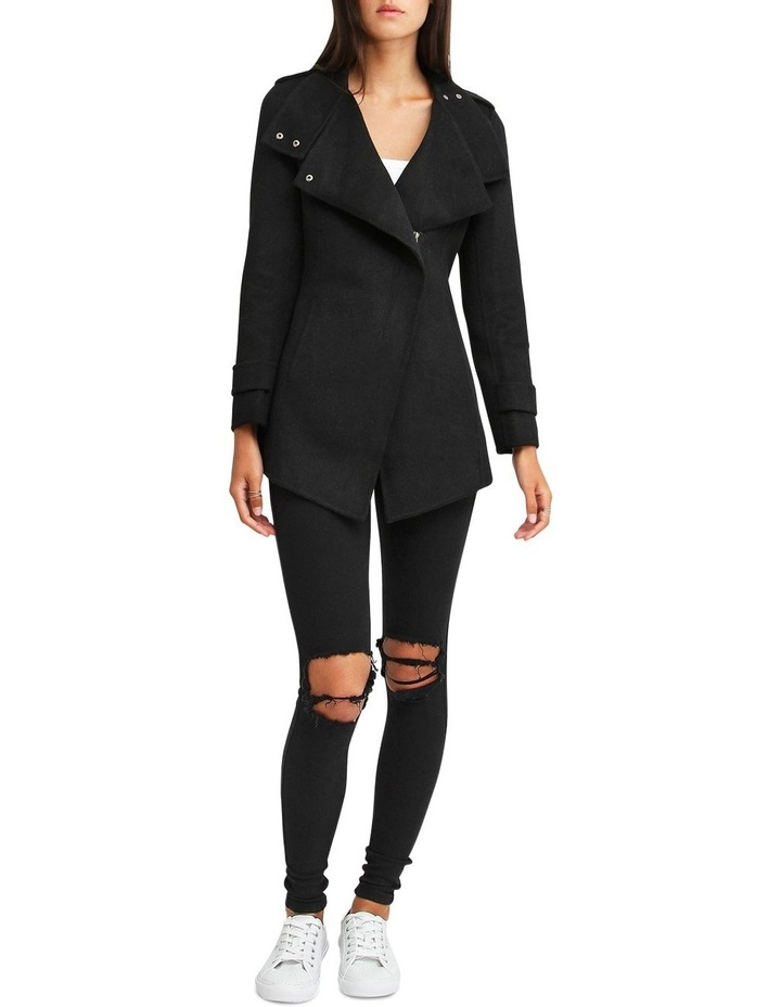 Bad Girl Black Wool Blend Moto Coat image 5