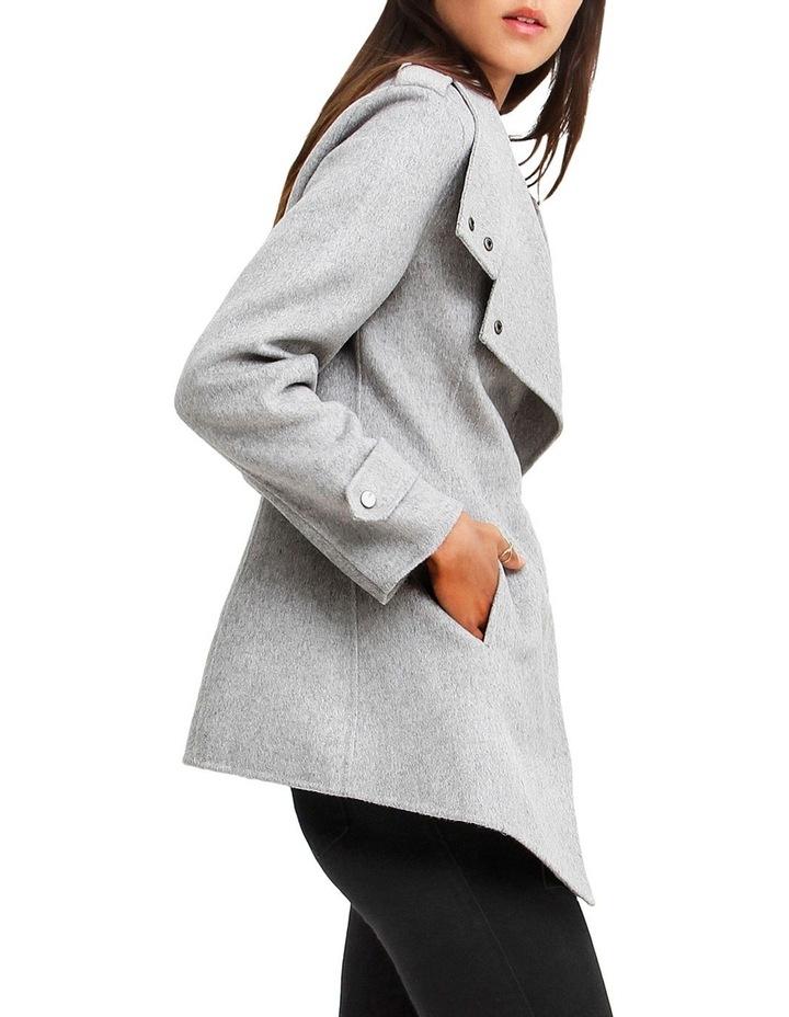 Bad Girl Grey Marl Wool Blend Moto Coat image 2