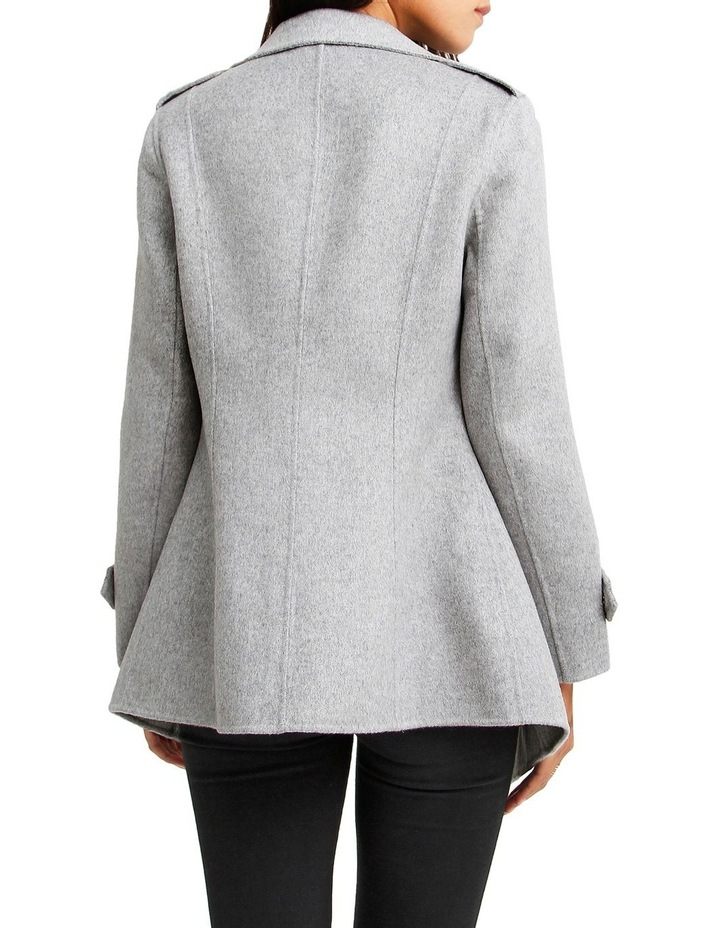 Bad Girl Grey Marl Wool Blend Moto Coat image 3