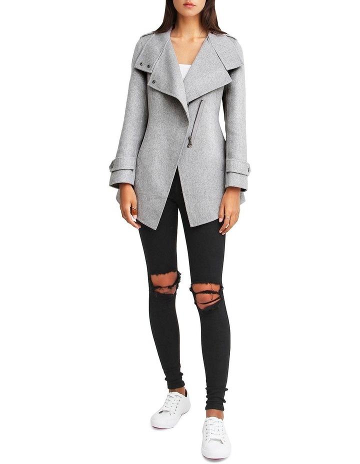 Bad Girl Grey Marl Wool Blend Moto Coat image 4