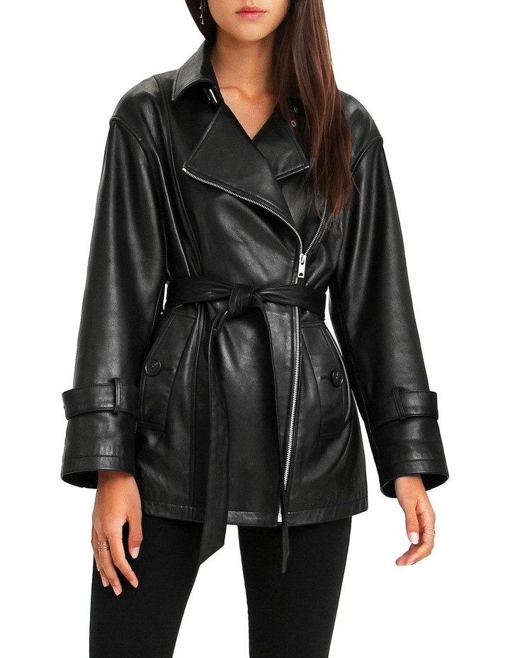 BFF Belted Black Leather Jacket image 1