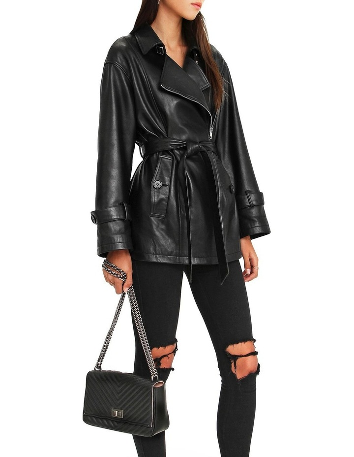 BFF Belted Black Leather Jacket image 4