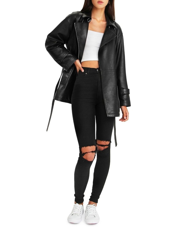 BFF Belted Black Leather Jacket image 5