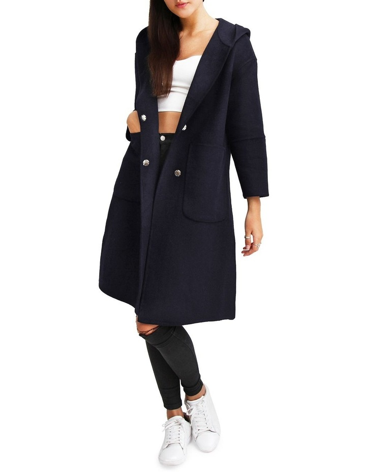Walk This Way Darkest Navy Wool Blend Oversized Coat image 1