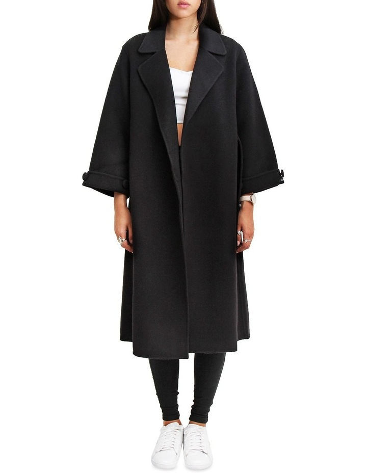Stay Wild Black Oversized Wool Coat image 1