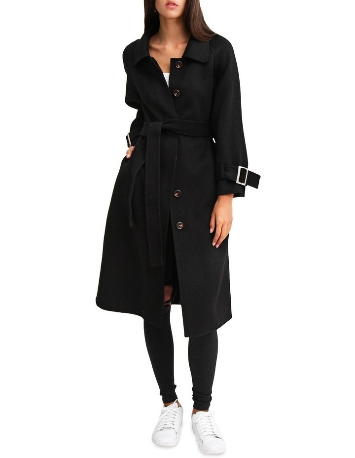 Shore To Shore Belted  Black Wool Coat image 1