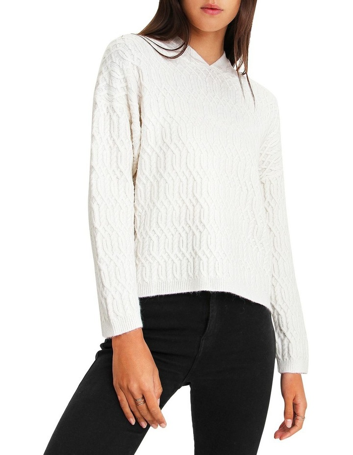 Oxford White Cable Knit Hooded Jumper image 1