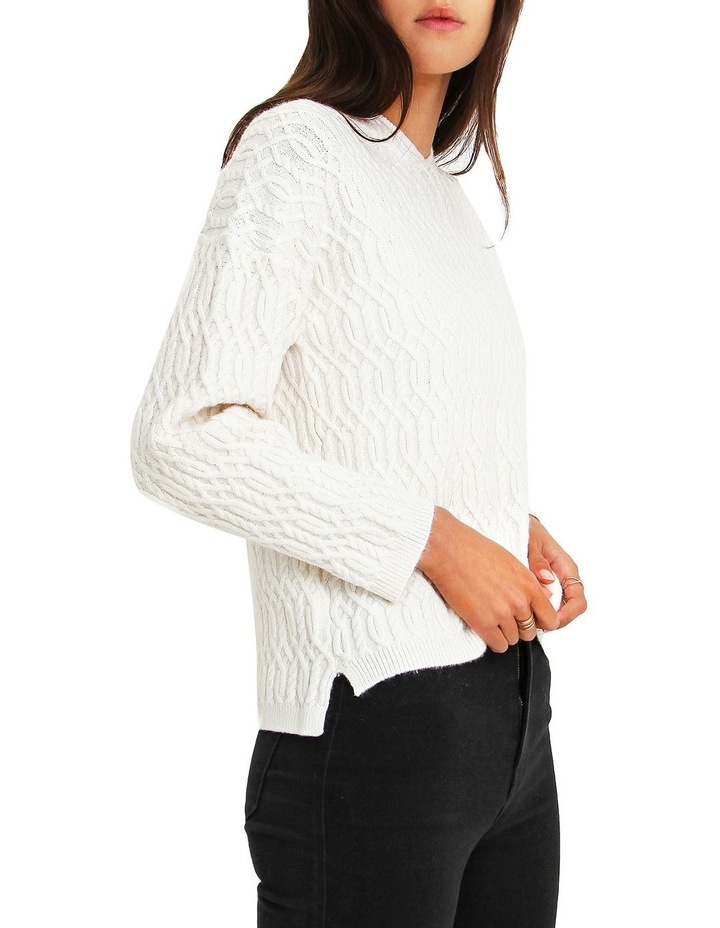 Oxford White Cable Knit Hooded Jumper image 2