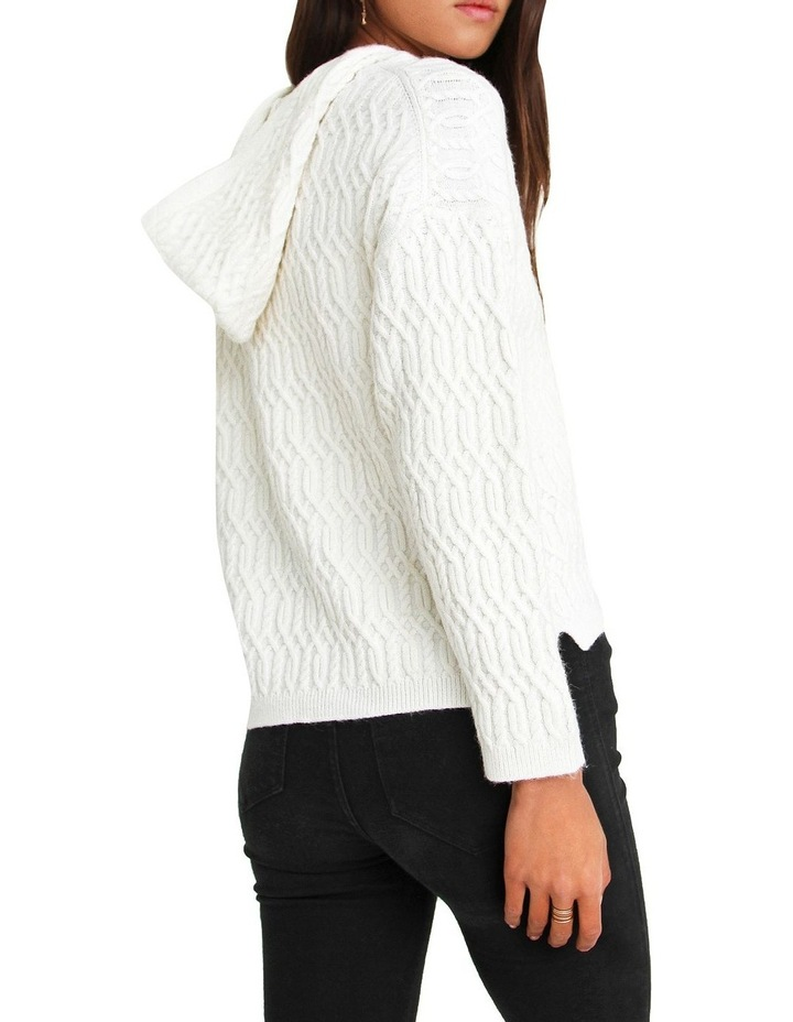Oxford White Cable Knit Hooded Jumper image 3