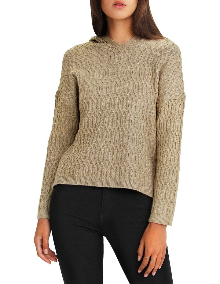 Oxford Camel Cable Knit Hooded Jumper image 1