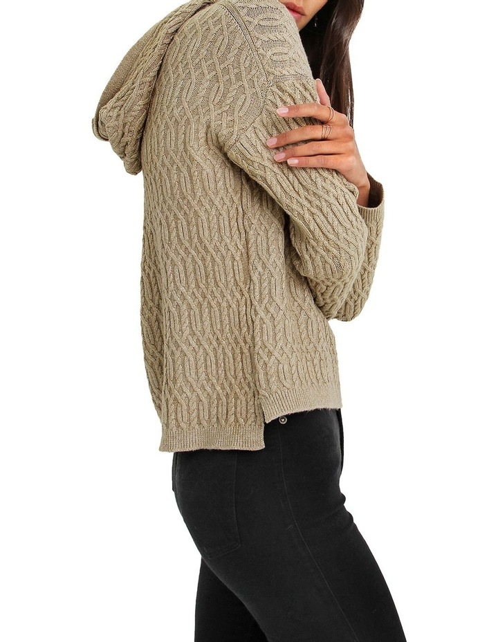 Oxford Camel Cable Knit Hooded Jumper image 2