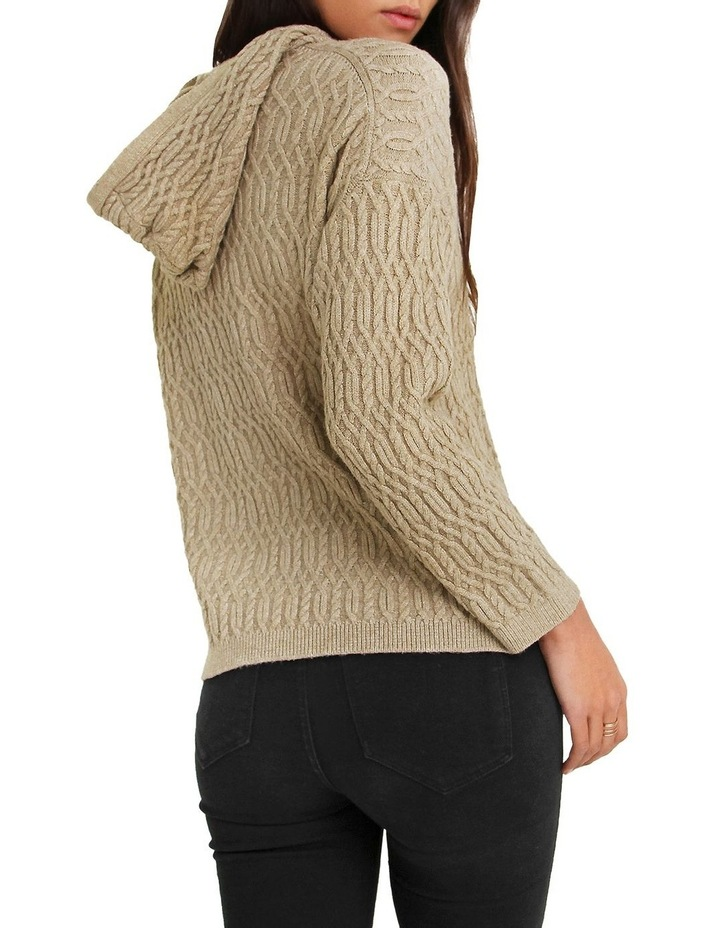 Oxford Camel Cable Knit Hooded Jumper image 3