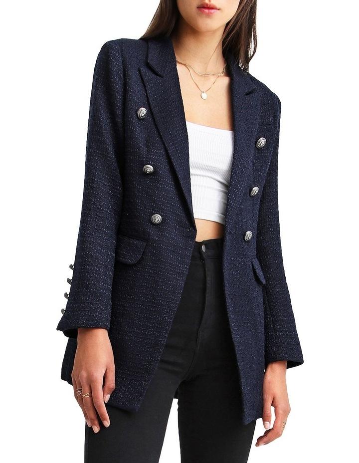 Princess Polly Navy Tweed Blazer image 1