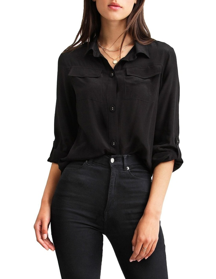 Eclipse Black Rolled Sleeve Blouse image 1