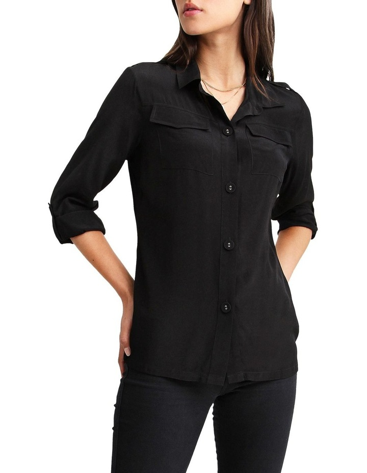 Eclipse Black Rolled Sleeve Blouse image 4