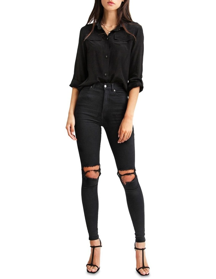 Eclipse Black Rolled Sleeve Blouse image 5