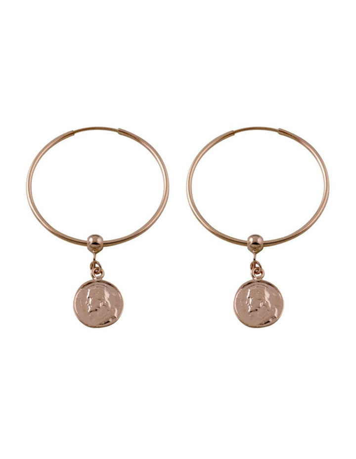 Silver Rose Gold Filled Hoop Earrings W/ Religious Charm image 1