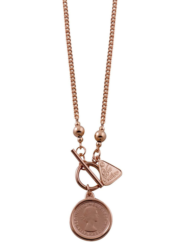 Silver Rose Gold Filled Curb Chain Necklace With Sixpence Coin image 1