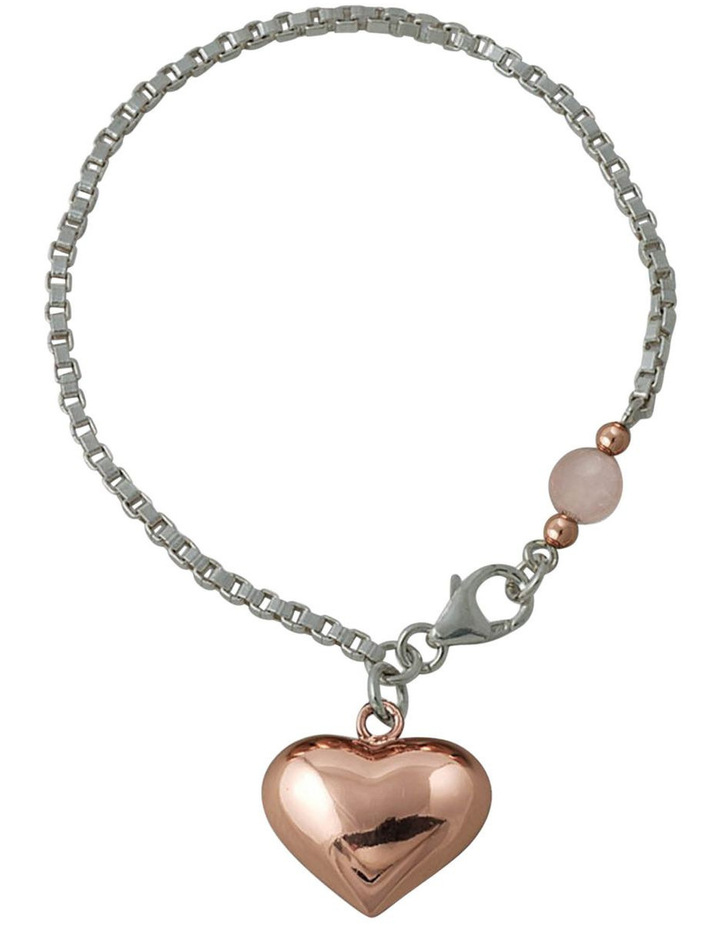 Silver Box Chain Bracelet With Rose Gold Puffy Heart & Rose Quartz image 1