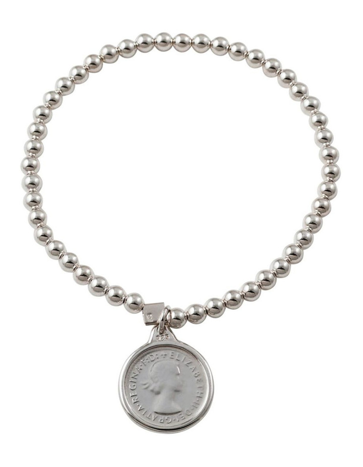 Silver 4MM Stretchy Bracelet W/ Authentic 3 Pence Coin image 1