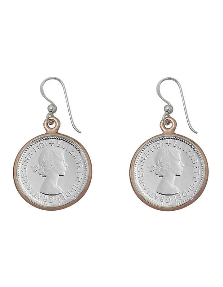 Silver 6 Pence Coin Earrings W/ Rose Bezel image 1