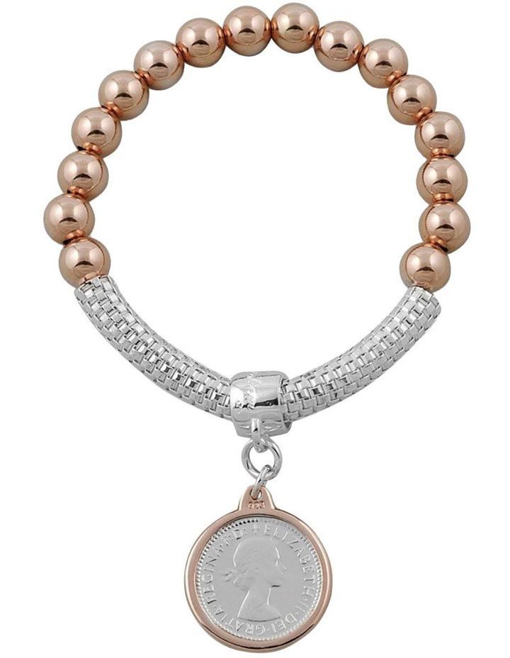 8MM Rosegold Filled Ball & Mesh Bracelet W/ 2 Tone 6 Pence Coin image 1