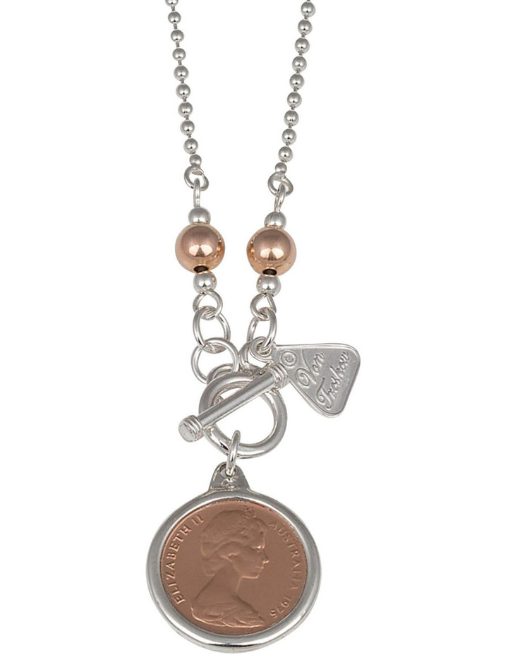 Silver 80Cm Ball Chain Necklace W/ One Cent Coin image 1