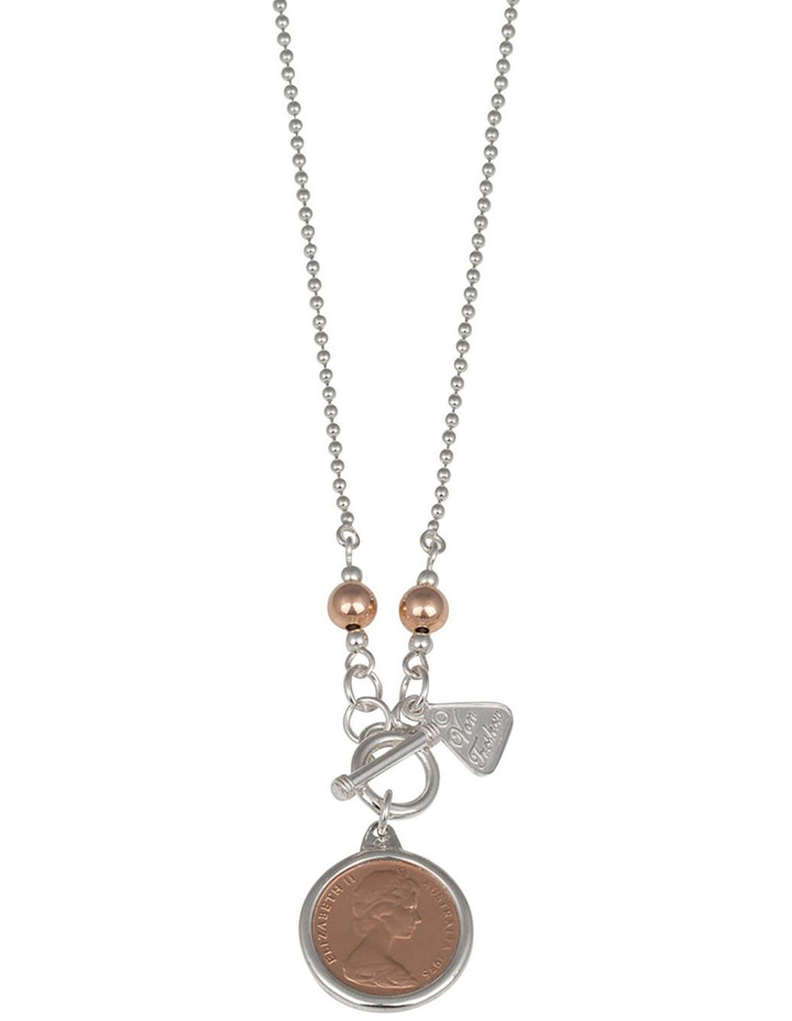 Silver 80Cm Ball Chain Necklace W/ One Cent Coin image 2