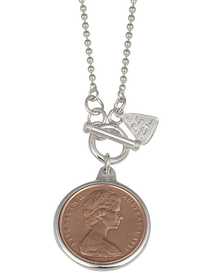 Silver 80Cm Ball Chain Necklace W/ Two Cent Coin image 1