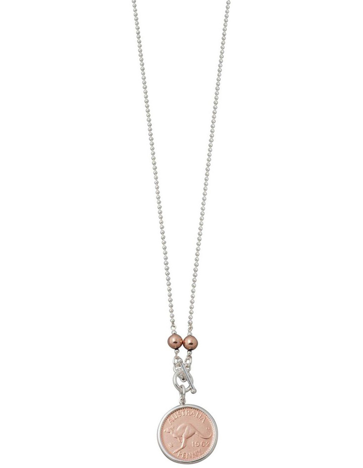 Silver Ball Chain Necklace W/ Rose Balls & 2 Tone Penny Coin - 80cm image 1