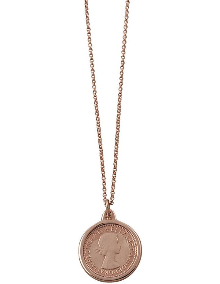 Fine Rosegold Filled Belcher Chain W/ Rg 6 Pence Necklace image 1