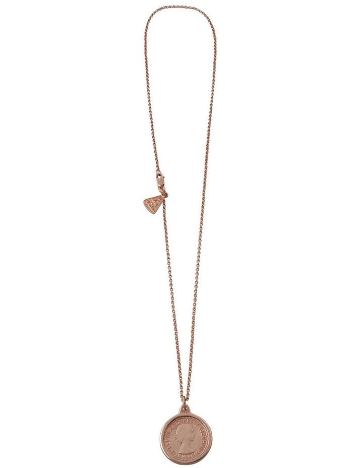 Fine Rosegold Filled Belcher Chain W/ Rg 6 Pence Necklace image 2