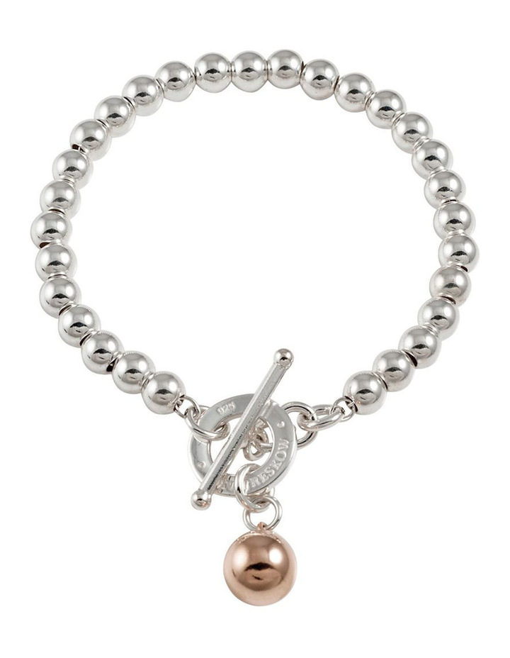 Silver 5MM Ball Bracelet W/ Disc Toggle & Rosegold Ball Charm image 1