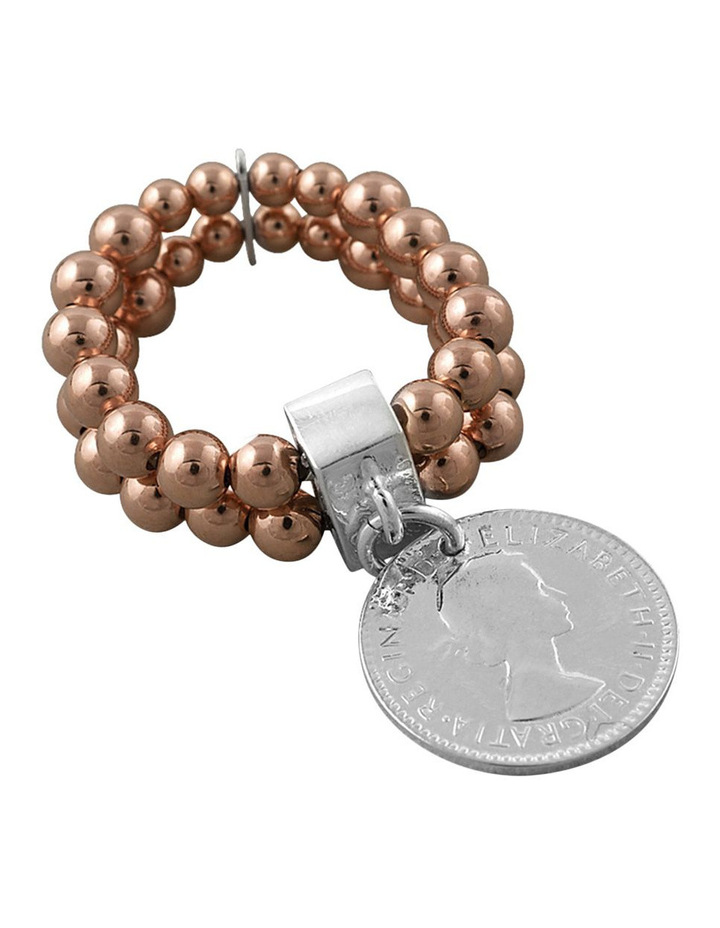 Two-Strand Rosegold Stretchy Ring W/ Silver Coin image 1
