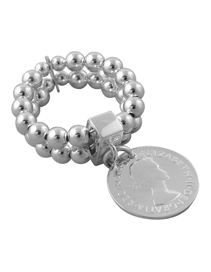Two-Strand Silver Stretchy Ring W/ Silver Coin image 1