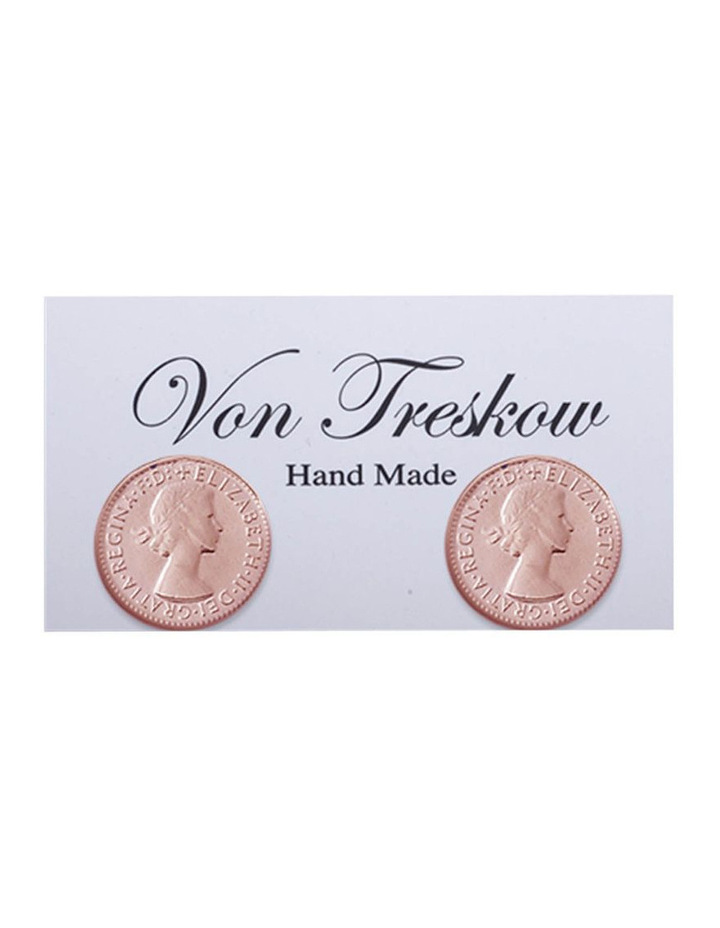 Rosegold Plated 3 Pence Stud Earrings image 1