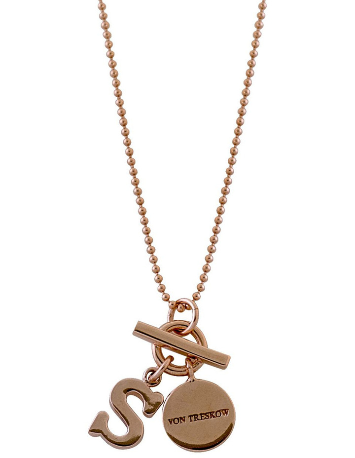 Rose Gold Fine Ball Chain Necklace With Small Initial+Small Von Treskow Toggle Initial C image 1