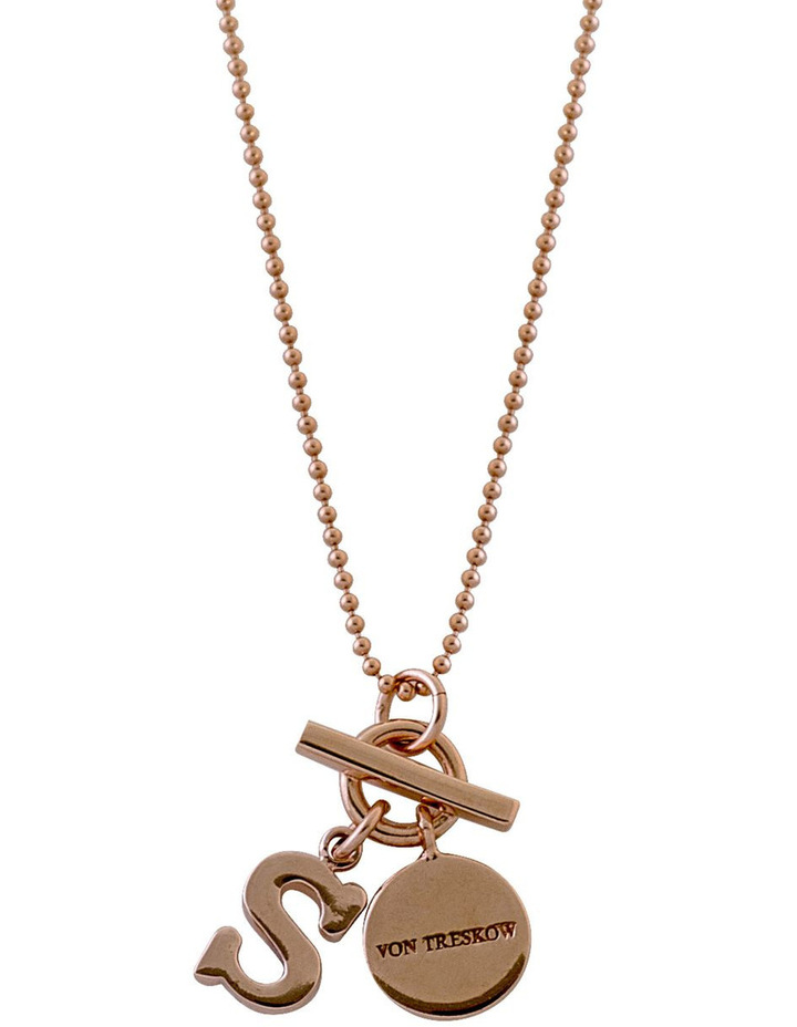 Rose Gold Filled Fine Ball Chain Necklace W/ Regular Small Initial And Small Toggle image 1