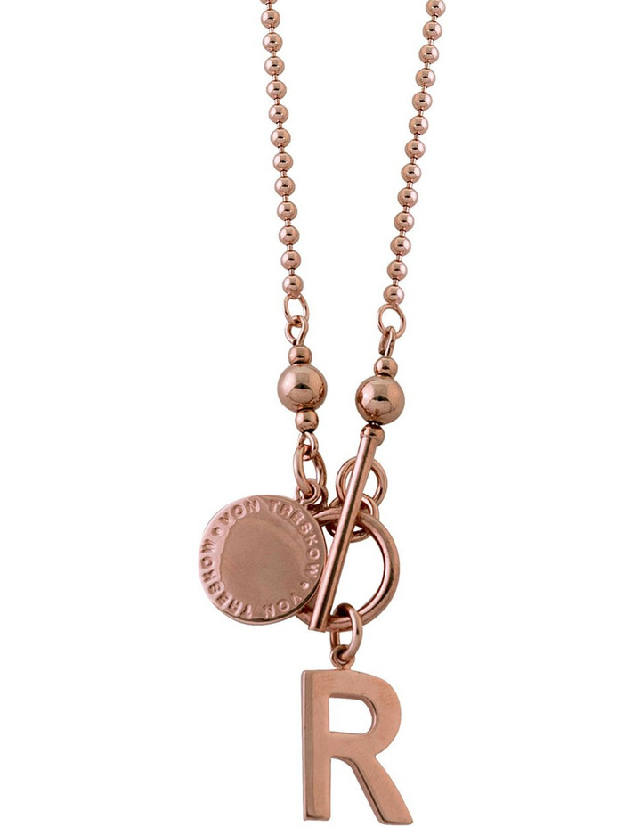 Rose Gold Filled Ball Chain Necklace W/ Plate And Large Rose Gold Plated In image 1