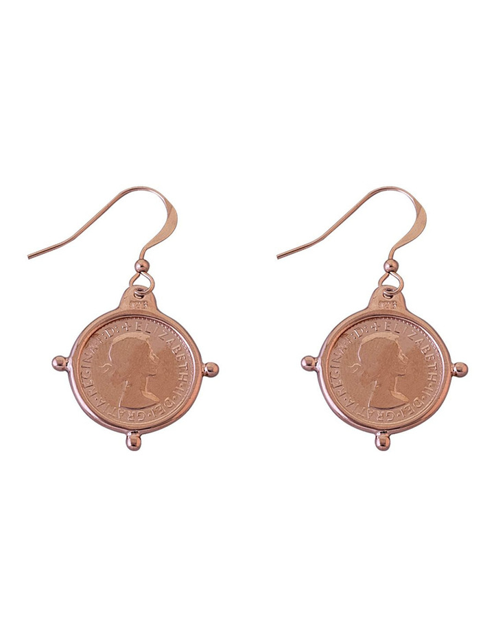 Rose Gold Plated 3 Pence Coin Earrings In Compasilver Frame image 1