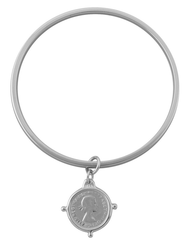 Silver Flat Edged Bangle W/ 3 Pence Coin In Compasilver Frame image 1