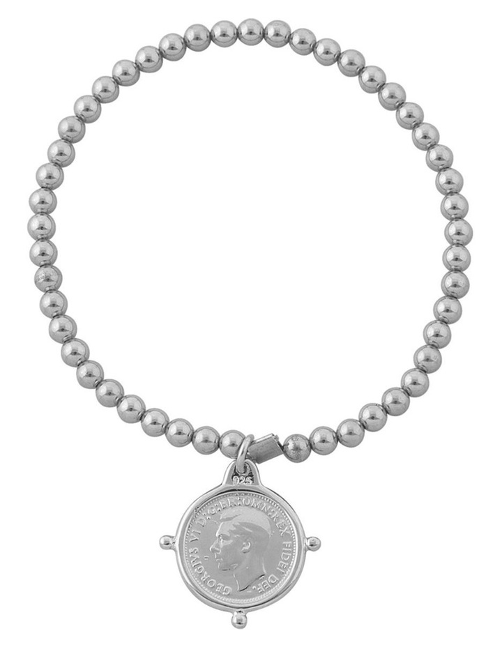 Silver 4MM Stretchy Bracelet W/ 3 Pence Coin In Compasilver Frame image 1