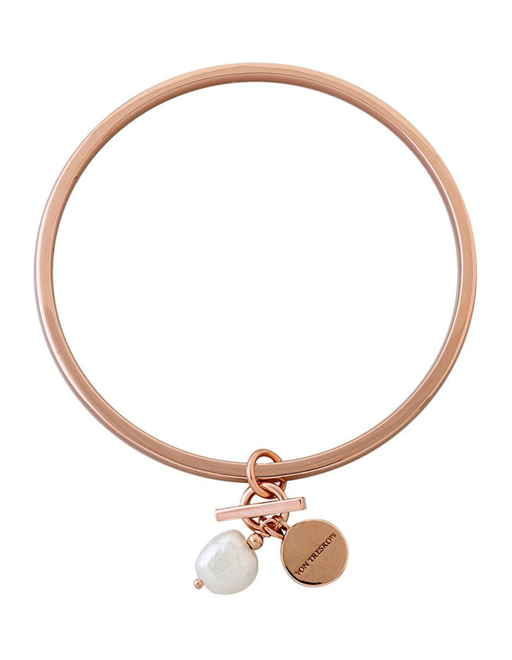 Rose Gold Plated Flat Edged Bangle W/ Small Von Treskow Toggle And Small Keshi Pearl image 1