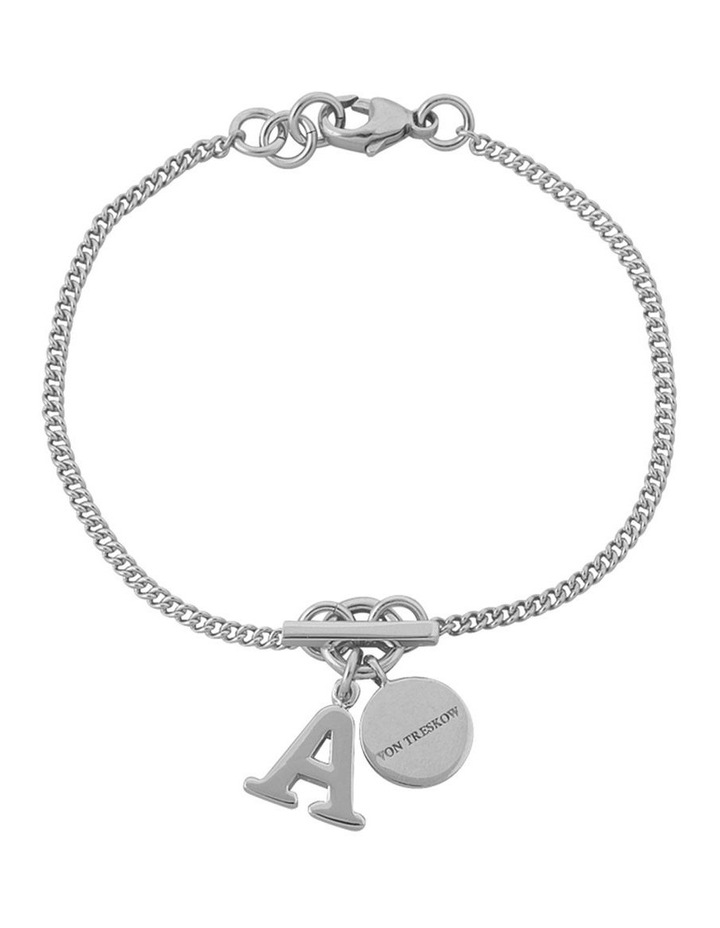 Silver Fine Curb Chain Bracelet W/ Small Toggle And Small Initial J image 1
