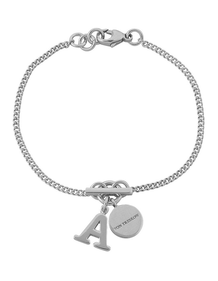 Silver Fine Curb Chain Bracelet With Small Von Treskow Toggle+Small Initial S image 1