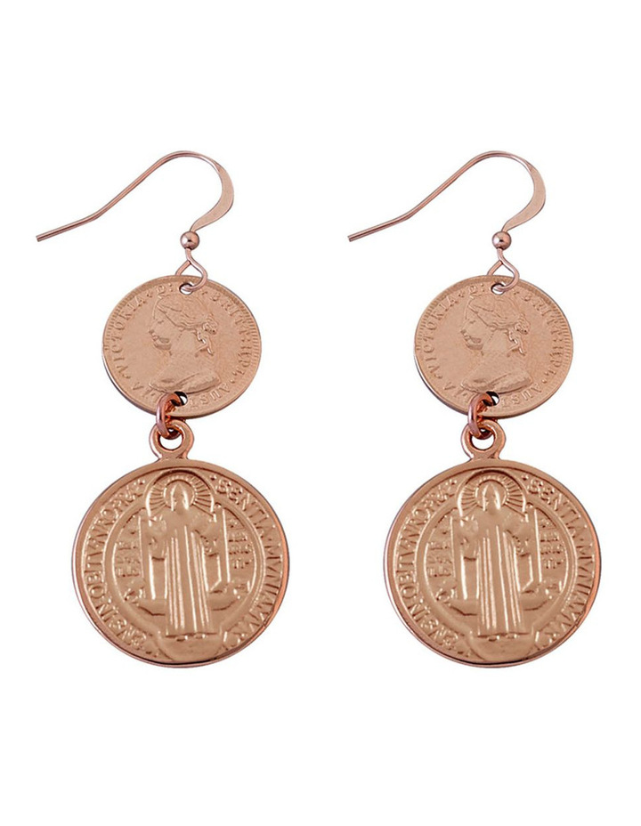 Rose Gold Plated 3 Pence Pence Token And St Benedict Earrings image 1
