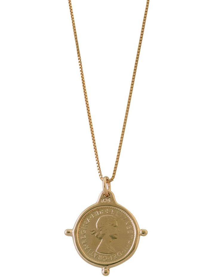 Yellow Gold Plated Fine Box Chain W/  3 Pence Coin In Compasilver Frame image 1