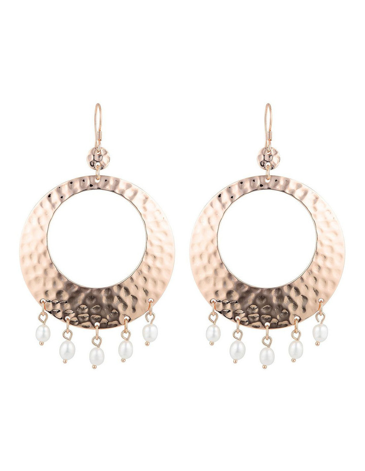 Palm Spring Hammered Round Earrings - Rose Gold/Pearl image 1