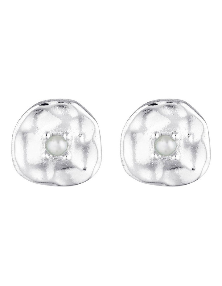 Cleo Stud Earrings - Sil/Pearl image 1